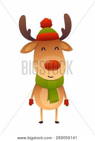 Christmas Cute Reindeer With Red And Hat Nose Cartoon Character New Jear Isolated