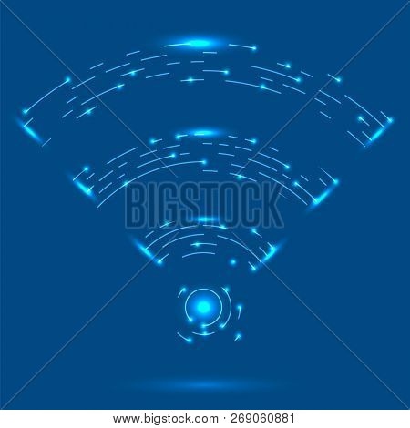 Gprs Logo. Radio Wave Icon. Wireless Network Symbol Isolated On Blue Background. Mobile Conceptual E
