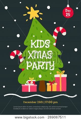 Kids Christmas Party Invitation Template. Flat Cartoon Illustration With Christmas Tree, Gifts And F