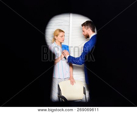 Witness Of Office Crime. Woman Suffer Violence In Office. Dirty Secret And Blackmail. Discrimination