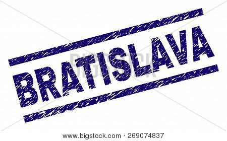 Bratislava Seal Print With Distress Style. Blue Vector Rubber Print Of Bratislava Label With Unclean