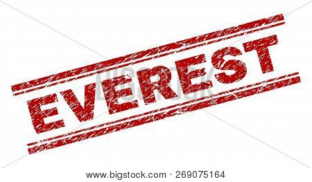 Everest Seal Stamp With Distress Texture. Red Vector Rubber Print Of Everest Text With Dirty Texture