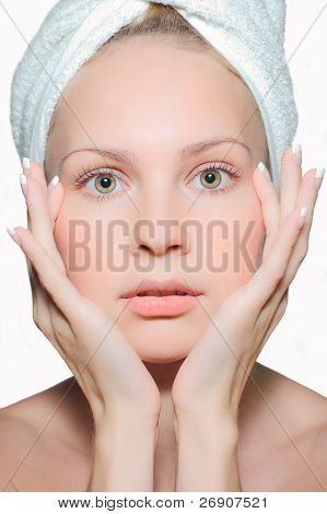 Closeup Of Young Beautiful Woman After Bath Isolated On White Background