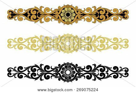 Vintage Engraving Ornament Vector Isolated On White Background, Border Ornament Pattern Frame, Engra