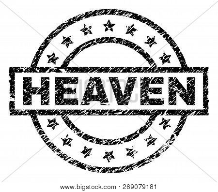 Heaven Stamp Seal Watermark With Distress Style. Designed With Rectangle, Circles And Stars. Black V