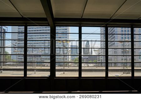 Berlin, Germany - June 09, 2018: View From A Station Platform Of Station Bahnhof Zoo To The City Cen