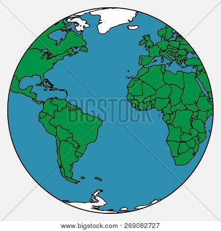 Globe Icon. Earth. Vector Illustration Globe America And Africa. Earth.