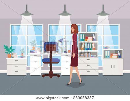 Modern Office With Businesswoman Vector Illustration Design