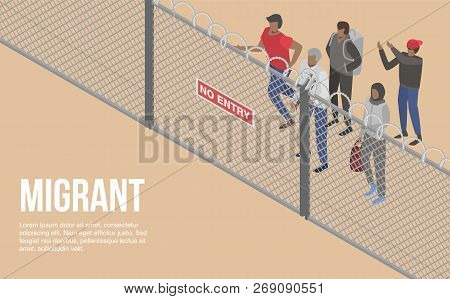 Migrant People At Border Country Concept Background. Isometric Illustration Of Migrant People At Bor
