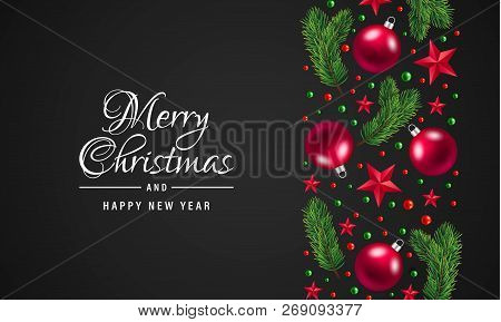 Merry Christmas And Happy New Year Concept Background. Realistic Illustration Of Merry Christmas And