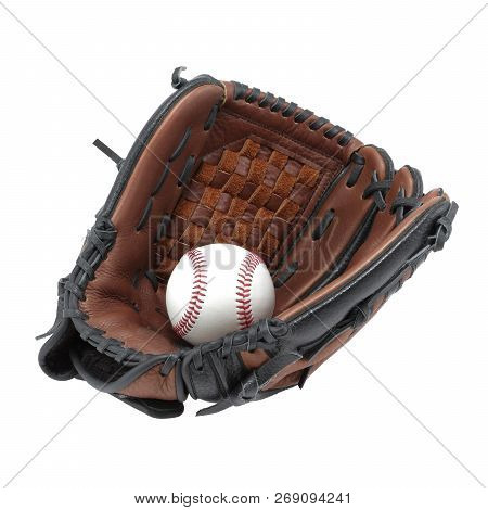 Baseball Glove Mitt And Ball Isolated On White Background With Clipping Path