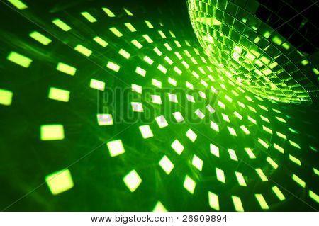 Disco ball with green illumination
