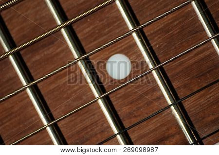 Closeup Of Steel Strings And Mahogany Wood Fretboard With White Dot Inlay On Classical Guitar