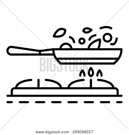 Cooking On Griddle Pan Icon. Outline Cooking On Griddle Pan Vector Icon For Web Design Isolated On W