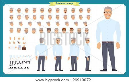 Business Casual Fashion. Front, Side, Back View Animated Character. Manager Character Constructor Wi