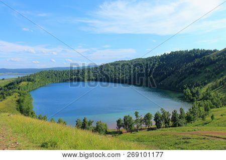 Awesome Bright Landscape Blue Deep Lake Tectonic Origin In Idyllic Countryside Republic Of Khakassia