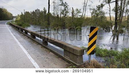High Water Under A Bridge Near Fayetteville North Carolina After Hurricane Florence