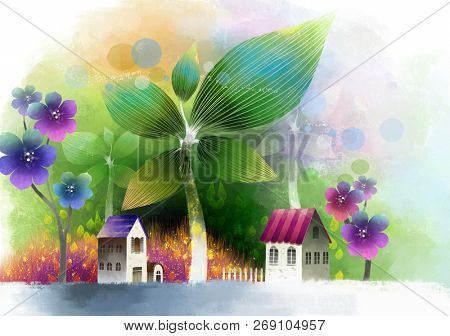 Bungalow with flora
