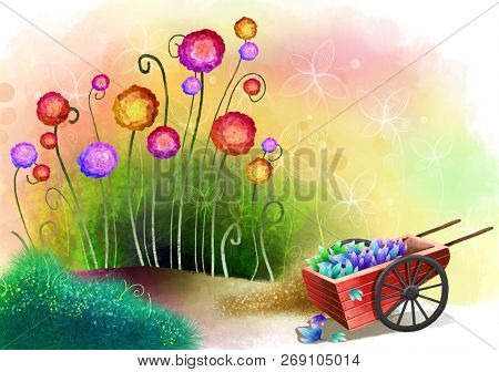 Flower field with carts
