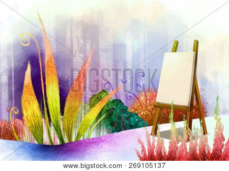 Painting canvas with flora