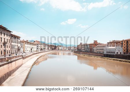River Arno Which Goes Through Famous Italian Town Pisa