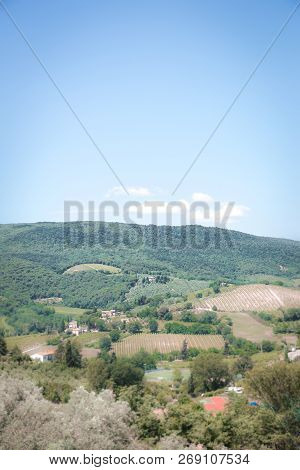 Vertical View Into Tuscany Country. Land Is Covered By Trees, Vineyards, Olive Alleys And Few Farm H