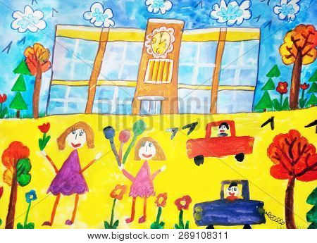 Children Drawing The Lives Of People In The City,  Building, Car