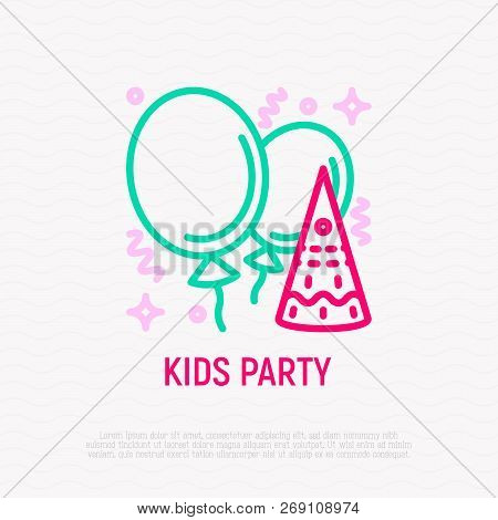 Kids Party Thin Line Icon: Baloons, Confetti, Decoration. Modern Vector Illustration.