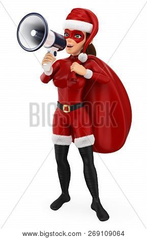 3d Christmas People Illustration. Woman Superhero With A Sack Talking On A Megaphone. Isolated White