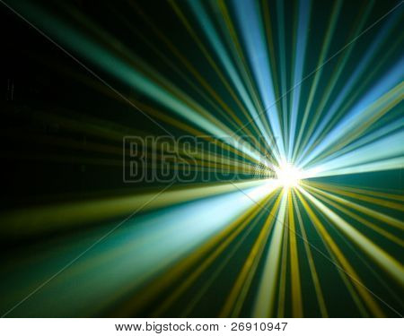 disco lights with rays in haze