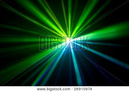 disco ball with green rays in haze
