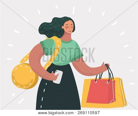 Vector Cartoon Illustration Of Shopping, Woman With Bags. Happy Lady Close Up View. Modern Character