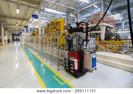 Car Manufacturing Plant. Automotive Shop. The Assembly Line For Manufacturing Cars.