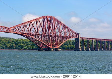 Forth Bridge Over Firth Of Forth Near Queensferry In Scotland