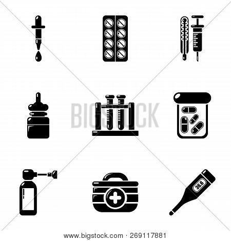 Pellet Drug Icons Set. Simple Set Of 9 Pellet Drug Vector Icons For Web Isolated On White Background