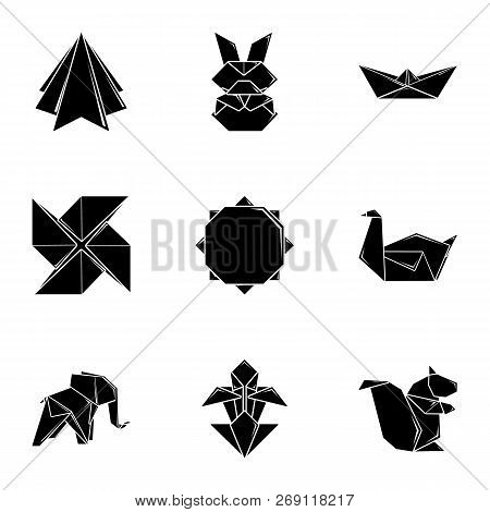 Paper Toylike Icons Set. Simple Set Of 9 Paper Toylike Vector Icons For Web Isolated On White Backgr