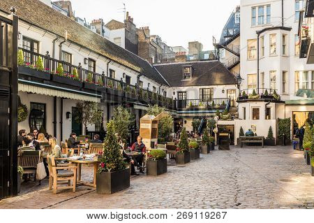 London. November 2018. A View Of The Outdoor Courtyard Of The American Bar At The Stafford Hotel In