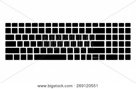 Keyboard Black Silhouette Pattern, Template. Computer Vector Isolated. Black Version. Top View.