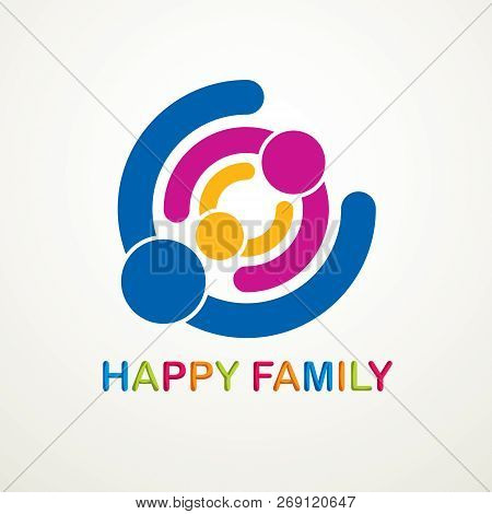 Happy Family Vector Logo Or Icon Created With Simple Geometric Shapes. Tender And Protective Relatio