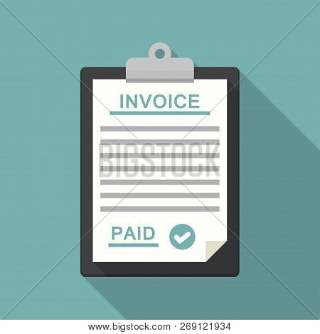 Clipboard With Payment And Bill Invoice In A Flat Design.