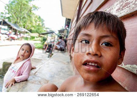 Pantoja, Peru - July 12, 2015: Children Living In Small Village Napo In Amazonian Jungle, Peru