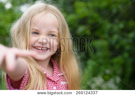 Smile If You Are Happy. Small Girl Happy Smiling. Little Girl Wear Long Hair. Small Child With Blond