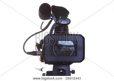 full HD camcorder isolated on white. front view