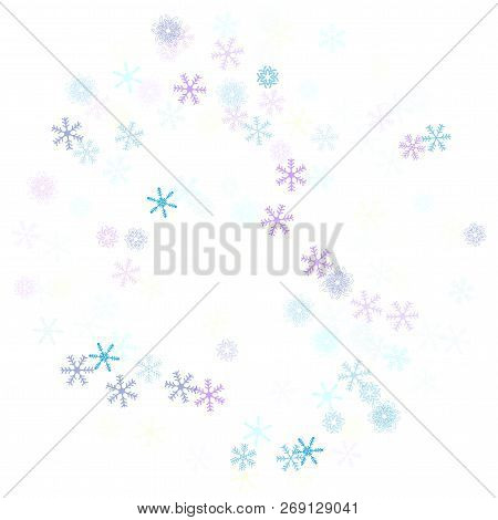 Falling Down Snow Confetti, Snowflake Vector Border. Festive Winter, Christmas, New Year Sale Backgr