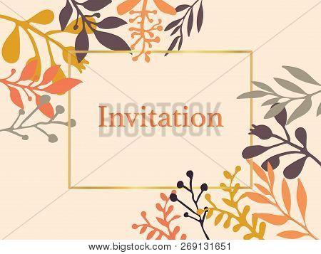 Invitation Card With Hand Drawn Autumn Fall Leaves. Vector Illustration. Season Lettering Illustrati