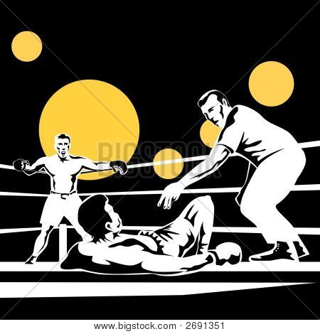 Boxer On The Floor With Referee Counting
