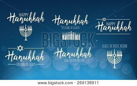 Vector Illustration Set Of Happy Hanukkah. Judaism Symbol. Hanukkah Logo For Greeting Card Template