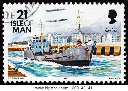 Isle Of Man - Circa 1997: A Stamp Printed In Isle Of Man Shows Ben Veg, Ship, Circa 1997