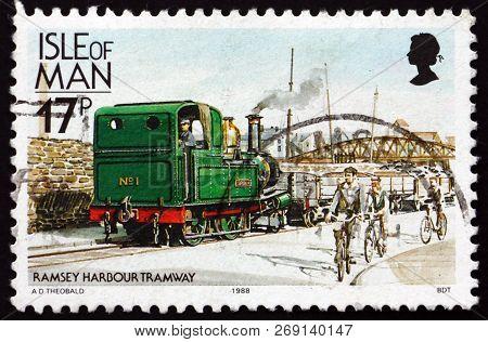 Isle Of Man - Circa 1988: A Stamp Printed In Isle Of Man Shows Locomotive No1., Ramsey Harbor Tramwa