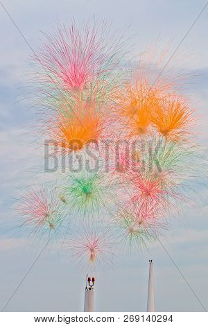 Powder Version Of Fireworks Being Displayed In Outdoors In The Afternoon.